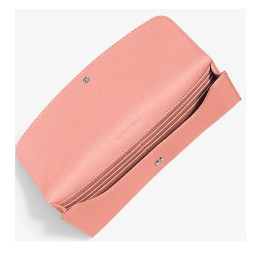 Michael Kors NWT Juliana Large Color-Block Saffiano Leather Wallet Pale Pink Image 1