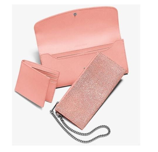 Michael Kors NWT Juliana Large Color-Block Saffiano Leather Wallet Pale Pink Image 2