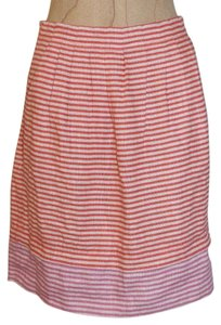 Ann Taylor LOFT New With Out Tags Linen Striped Pleated Mini Skirt orange