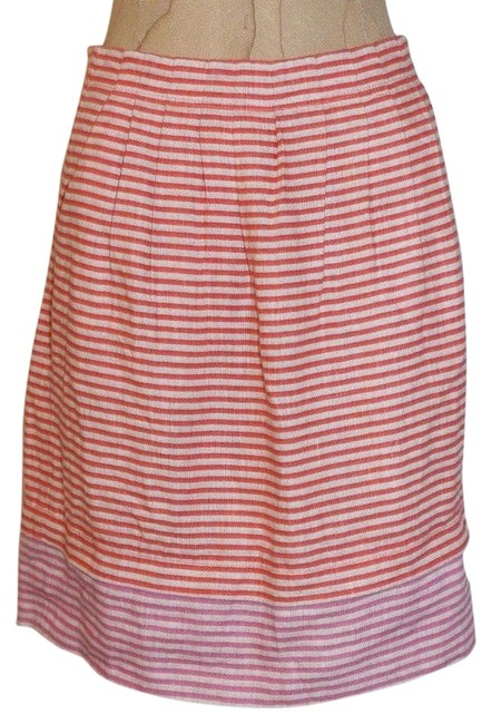 Ann Taylor LOFT New With Out Tags Linen Striped Pleated Mini Skirt orange Image 0