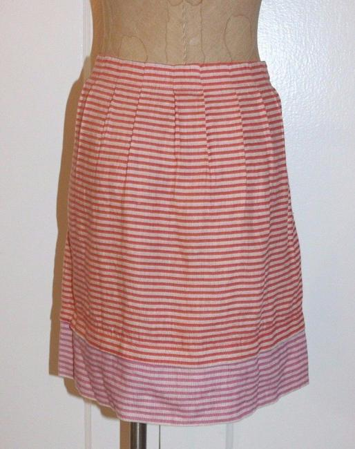Ann Taylor LOFT New With Out Tags Linen Striped Pleated Mini Skirt orange Image 1