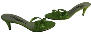 Sigerson Morrison Mettalic Lime Heels Made Italy Green strappy leather slip on Italian Mules
