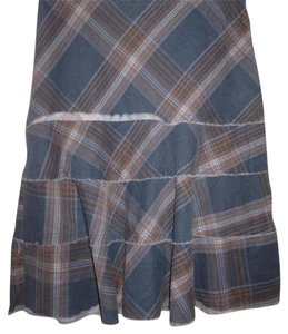 Tracy Evans Perfect To Mix/Match A-line Style Excellent Condition Bohemian/Distressed Unfinished Hem/Tiers Skirt blue, slate, and brown plaid in pin corduroy