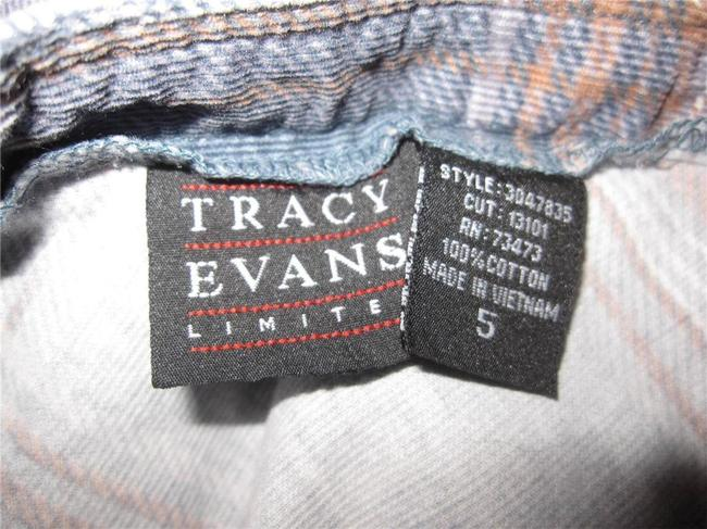 Tracy Evans Perfect To Mix/Match A-line Style Excellent Condition Bohemian/Distressed Unfinished Hem/Tiers Skirt blue, slate, and brown plaid in pin corduroy Image 1