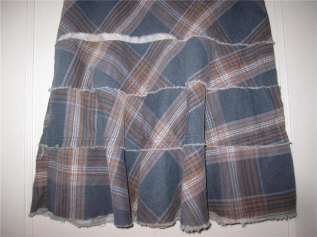 Tracy Evans Perfect To Mix/Match A-line Style Excellent Condition Bohemian/Distressed Unfinished Hem/Tiers Skirt blue, slate, and brown plaid in pin corduroy Image 2