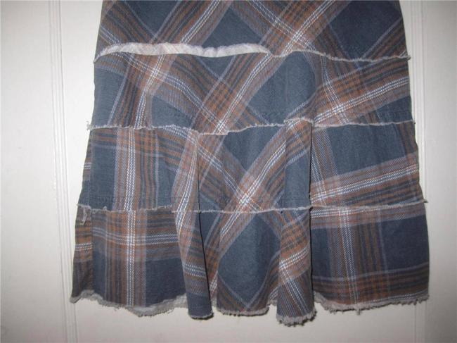 Tracy Evans Perfect To Mix/Match A-line Style Excellent Condition Bohemian/Distressed Unfinished Hem/Tiers Skirt blue, slate, and brown plaid in pin corduroy Image 4