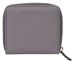 Gucci Gucci 346056 Womens Leather French Zip Around Wallet Purple