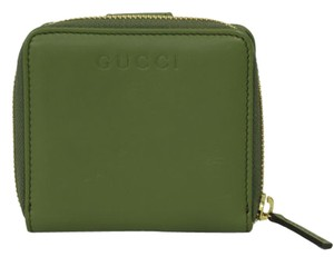 Gucci Gucci 346056 Womens Leather French Zip Around Wallet Green Tea