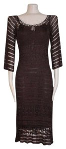 A.B.S. by Allen Schwartz Bodycon Crochet Midcalf 3/4 Sleeve Evening Dress