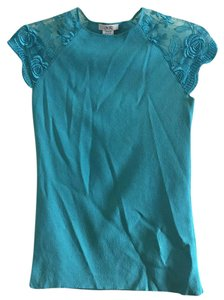 Cache Lace Sleeves Top Turquoise