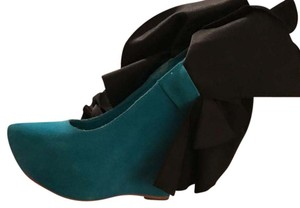 Jeffrey Campbell Black and Turquoise Wedges