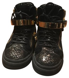Giuseppe Zanotti Street Style Black and gold with snake skin pattern Athletic