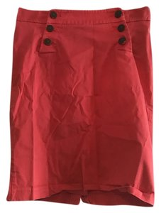 New York & Company Pencil Buttons Skirt Coral Red