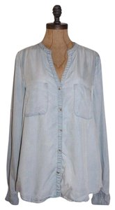 Anthropologie Chambray Holding Horses Button Down Shirt BLUE