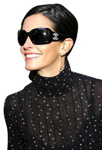 Chanel 5076 Black CC Logo Mother Of Pearl Sunglasses Wrap Classic MOP