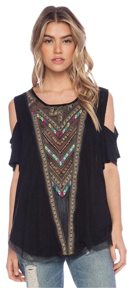 a76a8c3b4d868 Free People Gypsy Embroidered Beaded Cut Out Shoulders Top BLACK Image 0 ...