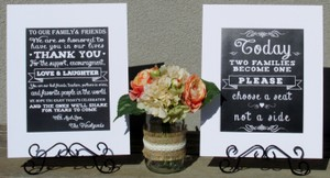 Set Of Chalkboard Look Rustic Wedding Signs Today Two Families & Heartfelt Thank You