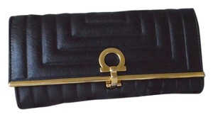 Salvatore Ferragamo Salvatore Ferragamo Black Leather Wave Wallet