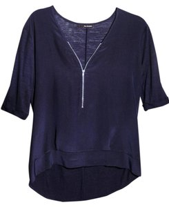 The Kooples Zipper Cleavage Silk Silk Top Navy