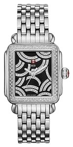 Michele NWT MICHELE Art Deco silver , Black Diamond Dial watch