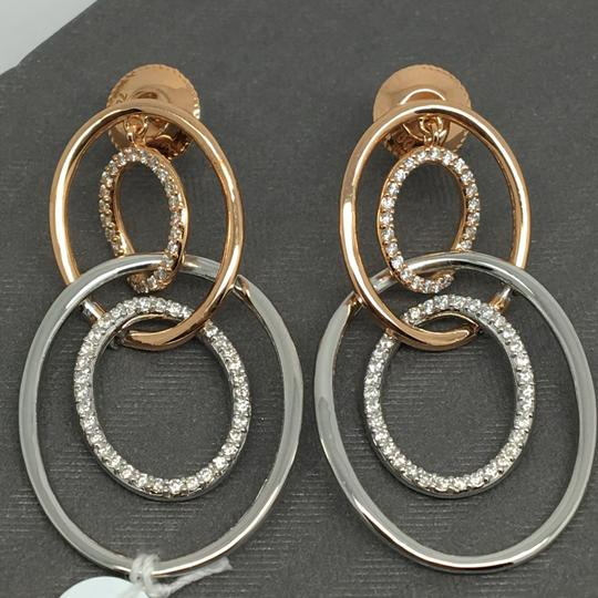 Other 18K Solid Rose Gold and White Gold Open Oval Natural Diamond Dangling Image 1