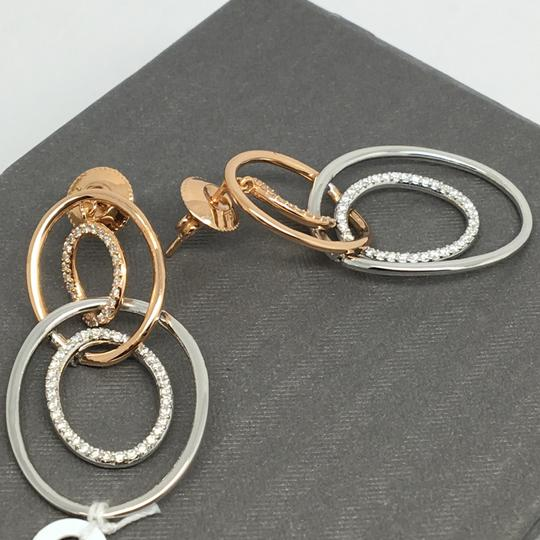 Other 18K Solid Rose Gold and White Gold Open Oval Natural Diamond Dangling Image 2