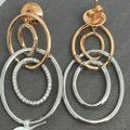 Other 18K Solid Rose Gold and White Gold Open Oval Natural Diamond Dangling Image 3