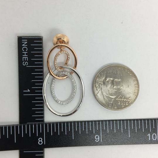 Other 18K Solid Rose Gold and White Gold Open Oval Natural Diamond Dangling Image 4