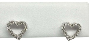 Other 14K White Gold Open Heart Natural Diamond Stud Earrings