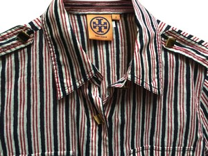 Tory Burch Button Down Shirt red white and navy stripes