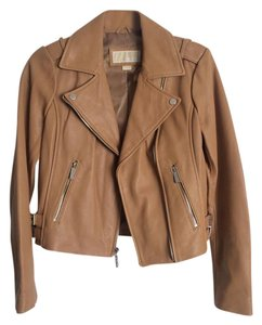 Michael Kors Brown Leather Motorcycle Jacket
