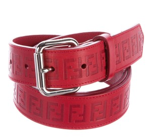 Fendi Red textured leather Zucchino monogram Fendi belt M