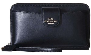 Coach Coach Navy Smooth Leather Phone Pocket Wristlet Wallet