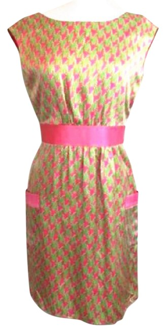 Preload https://img-static.tradesy.com/item/20305793/lilly-pulitzer-pink-kimball-salmon-hammered-silk-houndstooth-mid-length-short-casual-dress-size-8-m-0-3-650-650.jpg