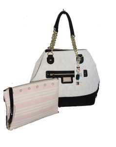 Betsey Johnson Quilted Heart Pouch Tote in bone