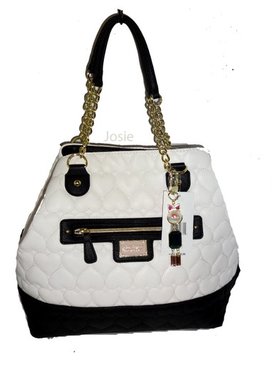 Betsey Johnson Quilted Heart Pouch Tote in bone Image 1