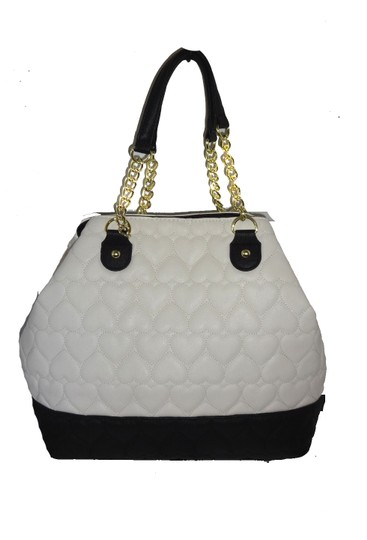 Betsey Johnson Quilted Heart Pouch Tote in bone Image 2