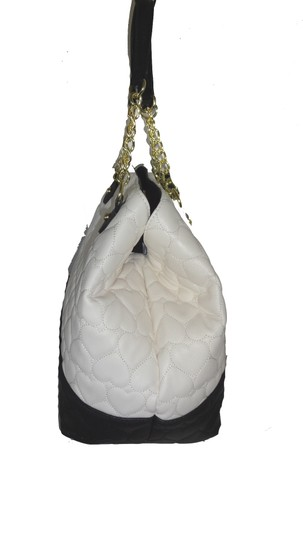 Betsey Johnson Quilted Heart Pouch Tote in bone Image 4