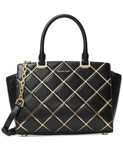 Michael Kors Selma Quilted Top Zip Medium / Satchel in Black / Gold