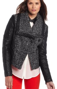 BCBGMAXAZRIA black leather & tweed Leather Jacket