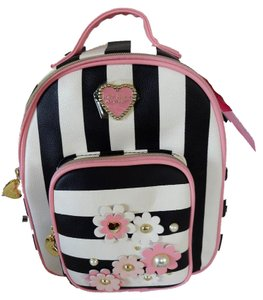 Betsey Johnson Mini 3d Flowers Striped Pink Trim Backpack