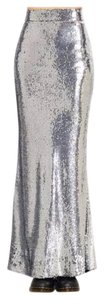New Year's Eve Nye Formal Maxi Skirt Silver