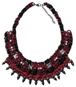 Zara Zara Spike Chain Rhinestone Braid Fabric Necklace