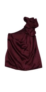 7 For All Mankind Burgundy One Shoulder Silk Top
