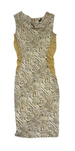 Escada short dress Yellow & White Snakeskin Cowl Neck on Tradesy