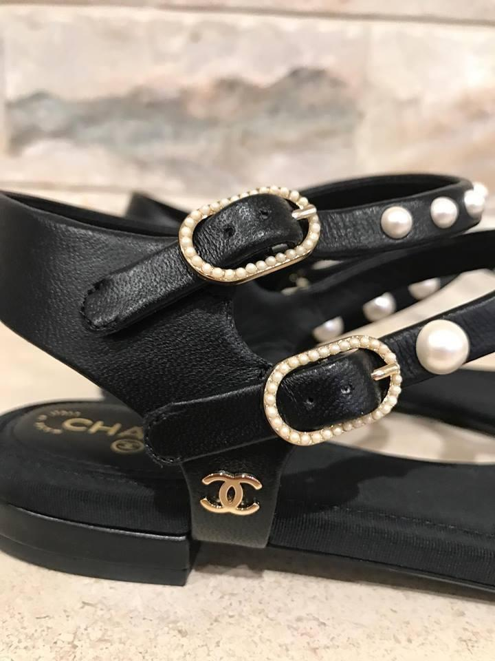 29dc283e8f9e Chanel Black 16p White Pearl Cc Lambskin Leather Buckle Thong Flat 37c  Sandals Size US 7 Regular (M