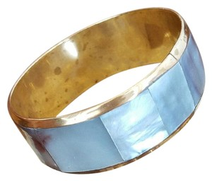 Other Vtg 50's Grey Mother of Pearl Inlay Brass Bangle