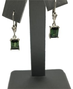 Other 14K White Gold Emerald Cut Natural Green Tourmaline Dangle Earrings