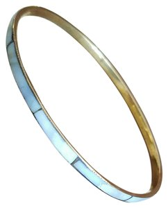 Other Vtg Skinny Mother of Pearl Inlay Brass Bangle