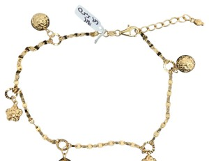 18K Solid Yellow Gold Diamond Cut Ball and Star Anklet